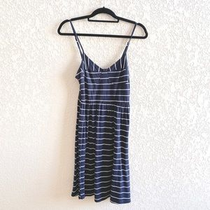 Navy Blue & White Striped Dress